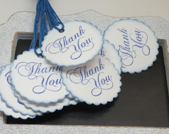 Thank you tags, 12 thank you tags, cardstock tags, tags, ready to ship tags, white and blue tags, hand punched and stamped tags