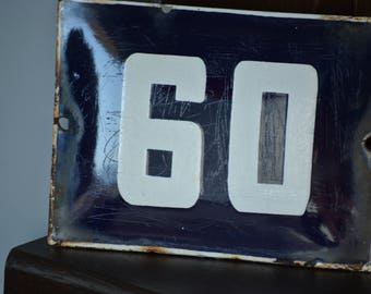 Street House Number 60,Door Gate Plate,Vintage Enamel Sign,European Blue and White Street House Number,Wall Decoration,Old Address Sign
