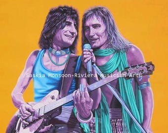 Rod Stewart and Ronnie Wood Original acrylic painting
