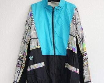 Adidas Jacket Zip Vintage Blue White Black Adidas 3 Strips Sweatshirt Oldschool Size Large to Extra Large