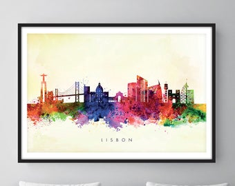 Lisbon Skyline, Lisbon Portugal Cityscape Art Print, Wall Art, Watercolor, Watercolour Art Decor