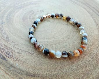 Agate Beaded Bracelet with Rose Gold