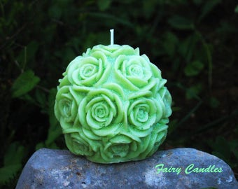 Lime Green Candle, Green Pillar Candle, Beautiful Lime Green Candle 9x9 cm