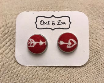 Fabric Button Earrings / Cupid's arrow