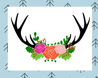 Antler floral swag svg Deer svg Deer antlers svg Floral svg Flower svg Rose svg files for Cricut Silhouette vector cut files Deer antler svg