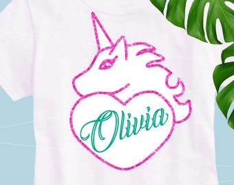 Unicorn Valentine SVG Girl Unicorn svg Unicorn monogram svg Unicorn horn svg Unicorn Birthday files for Cricut Silhouette Unicorn cut files