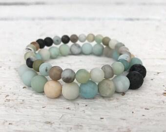 Amazonite beaded bracelet, gemstone bracelet, essential oil bracelet, diffusing jewelry, lava bead, stretch bracelet, boho