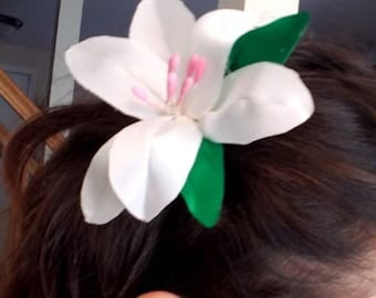 Hair Pin Barrette Bobby Pin White Flower