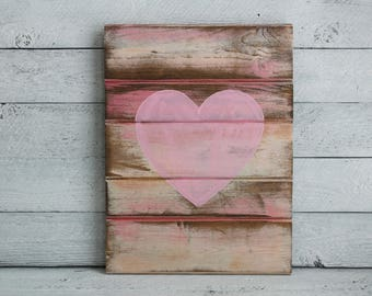 Rustic Heart Wall Decor - Rustic Heart Decor - Pallet Signs - Heart Wall Art - Bedroom Wall Decor Love - Heart Pallet - Pink Nursery Art