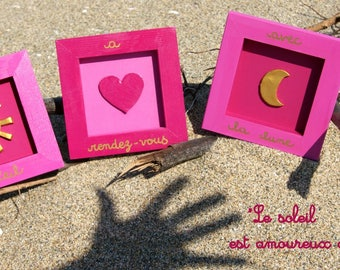 Set of decorative frames 'the Sun a date with the Moon'