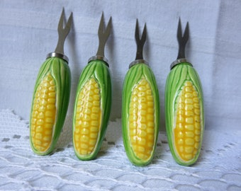 Vintage Mid Century Two Sets of Corn on the Cob Holders Stainless Steel Spears Made in Japan