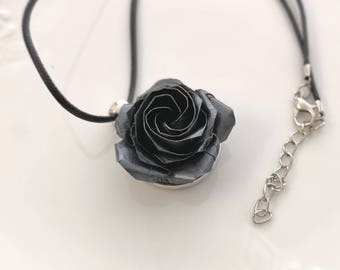 Origami Black Rose Necklace, Origami Jewelry, Origami Flower Necklace, Paper, Anniversary