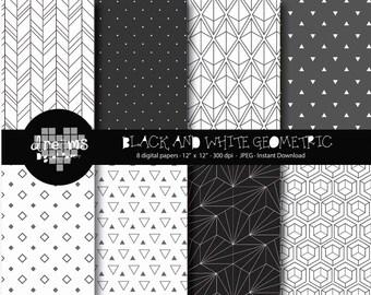 COD048-70% OFF SALE-Black and white geometric digital paper-geometric printablee-black digital paper-scrapbook printable-geometric