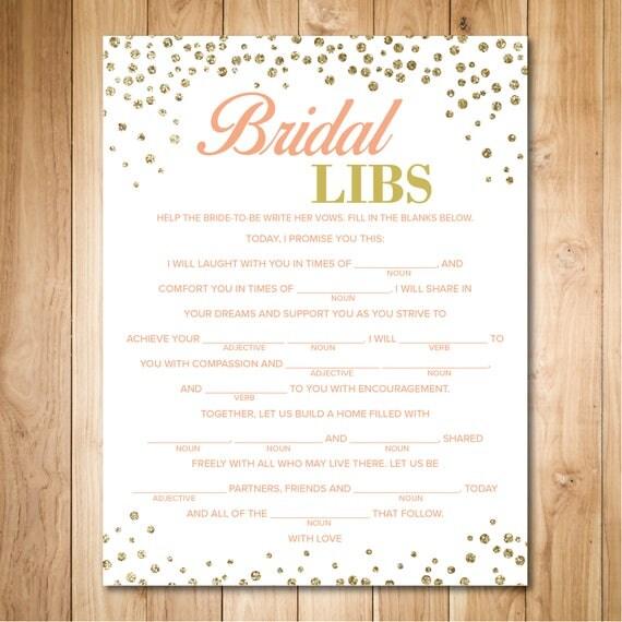 Wedding Vow Mad Libs Printable: Gold Bridal Shower Games Wedding Vow Mad Libs Bridal