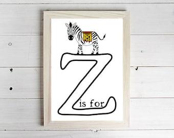 z is for Zebra Alphabet Print - Unframed Art Print, Monkey Drawing, Nursery Picture, Animal Wall Art, Children's Decor, Kid's Bedroom