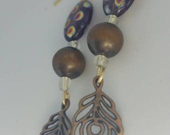 Wood and leaf bead earrings