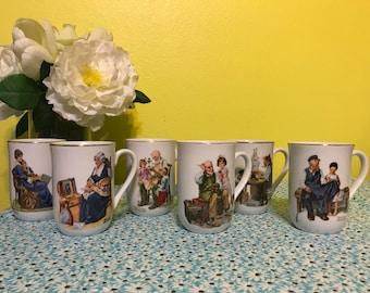 Norman Rockwell Coffee Mugs, Set of 6 Vintage 1982