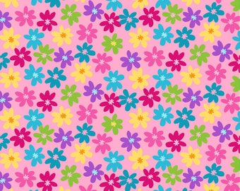 Bloom Colourful Garden Flowers on Pink Fat Quarter Cotton Fabric (UK)