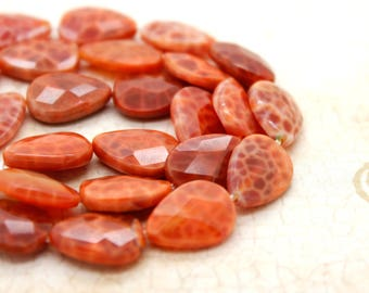Red Fire Agate Flat Faceted Pear Gemstone Beads