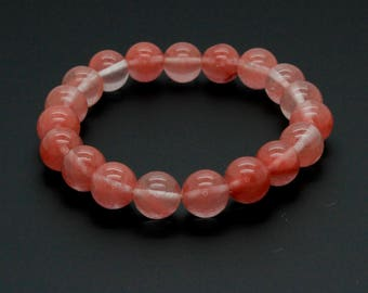 "Cherry Quartz Gemstone Beads Size 10mm. Length 8"" Semi-Precious Gemstone Elastic Cord Bracelet Accessories"
