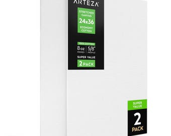 Arteza 24x36 Stretched Canvas, Economy-Cotton (Pack of 2)