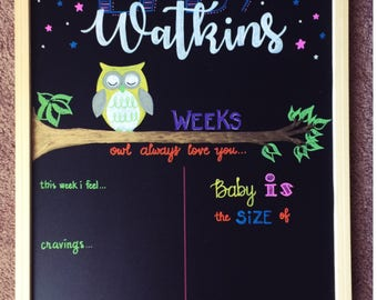 Custom Weekly Reusable Pregnancy Baby Bump Board Chalkboard Sign Week by Week Countdown Milestone Chalkboard Sign Baby Announcement