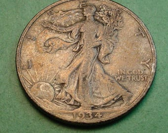 Walking Liberty Half Dollar 1934-S VF Original Just came out of old Album<> # ET3685