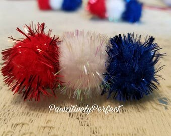 Red ,  White ,  and Blue Pom Pom Hair Clip