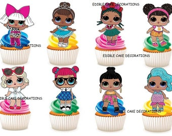 30 x L.O.L Surprise Dolls LOL rice fairy paper cupcake cake toppers edible decoration Stand up LOL Dolls