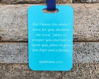 Galatians 2:20 Bible Verse Metal Luggage Tag