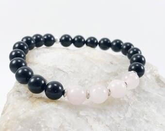 Gemstone Bracelet - Black Bracelet - Rose Quartz Bracelet - Ladies Bracelet - Wrap Bracelet - Mothers Day Gift - Gifts for Her