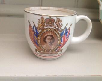 Vintage ceramic coronation cup Elizabeth II 1950s