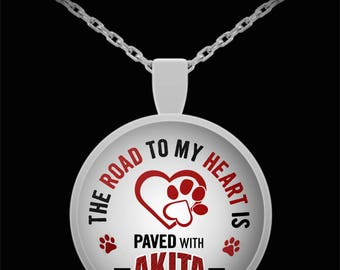 The Road To My Heart Is Paved With Akita Paw Prints Circle Silver Pendant Necklace