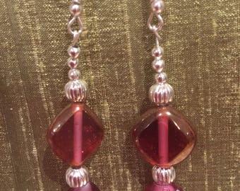 Silver handmade earrings lampwork heart shaped glass beads