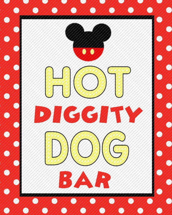 Free Hot Diggity Dog Bar Sign