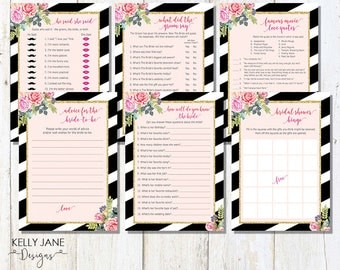 Floral Glitter Bridal Shower Games and Activities Package Pink -Flower Games Set, What Did Groom Say, Famous Movie Quotes  FG1