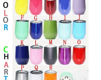 Personalized 9oz Double Wall Insulated Stemless Wine Glass With Lid And Name Or Monogram