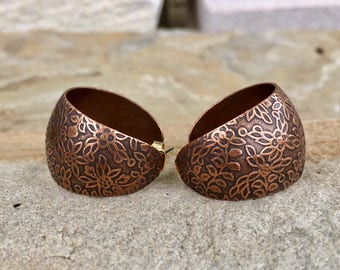 Copper Flower/Floral/Vine Wide Hoop Earrings