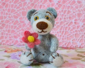 Gray bear with flower Felted bear Little bear Needle felted animal Soft bear Needle felted toy Felt teddy Wool toy Soft sculpture Wool bear