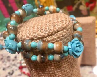 Smaller turquoise rose stretch bracelet