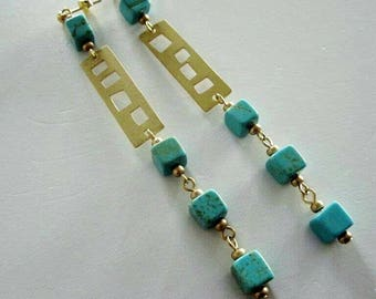 Golden Brass Geometric Strip with Turquoise Green Magnesite Cubes Stud Earrings