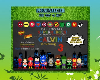 Superhero Invitation / Superhero Birthday / Superhero Party / Superhero Invite / Superhero Birthday Invitation / Superhero Party Invitation