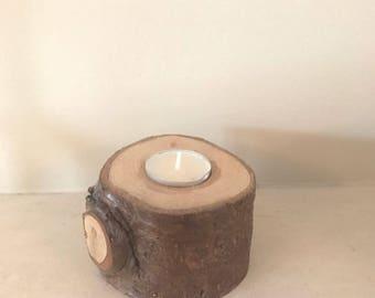 Small Rustic Wood stump Tea Light holder.