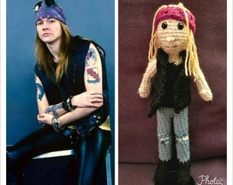 crAFty Characters: Axl Rose doll/Guns N Roses/90's/Fan Art/ Collectible doll/RockBand/Music Gift