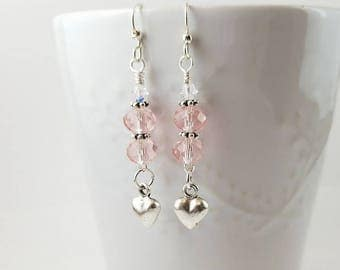 Silver heart and pink crystal Valentine earrings