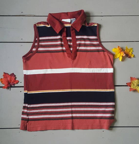 Vintage 90s color block tank top. Fall colored 70s inspired polo tank size M