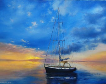 Sailboat Painting Large Seascape Painting Boat painting oil Original ocean painting on canvas Marine Oil Painting Seascape canvas Seascape