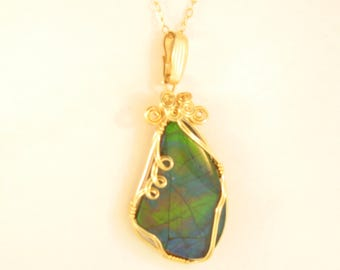 Ammolite Pendant: Wire Wrapped in 14K Gold Filled Wire