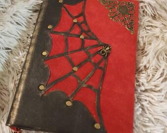 Grimoire Spider Web, leather notebook, handmade