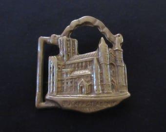 Belt Buckle Buckfast Abbey in Solid Brass Made in England